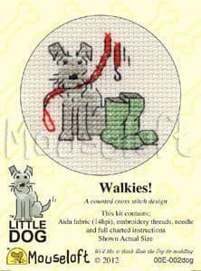 Mouseloft Walkies! Little Dog cross stitch kit